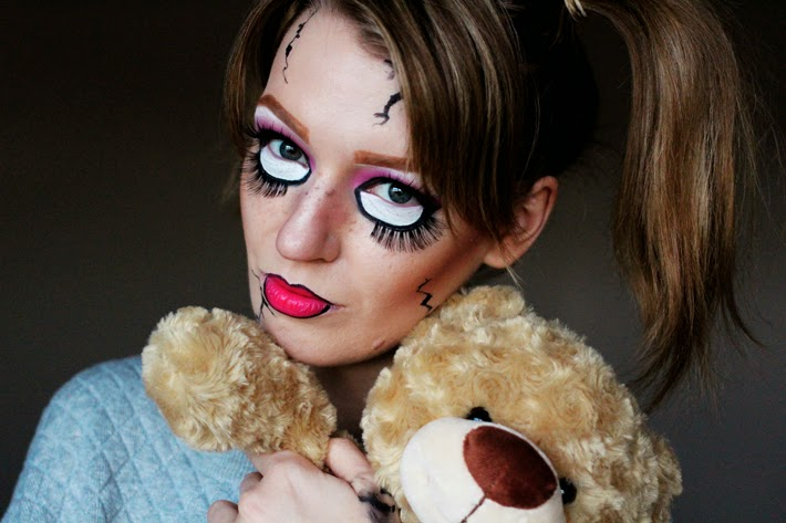 a step by step scary doll halloween make up tutorial using sleek make up