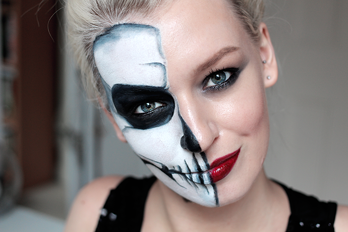 halloween glam half skull make up tutorial step by step guide by beauty blogger zoe