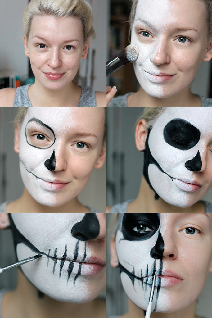 All you will need is black & white face paint , a couple of old brushe ... Half Skeleton Face Painting